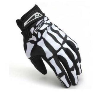 骨スケルトン 手袋 グローブ バイク 自転車 スマホ対応 ブラック XL(手袋)