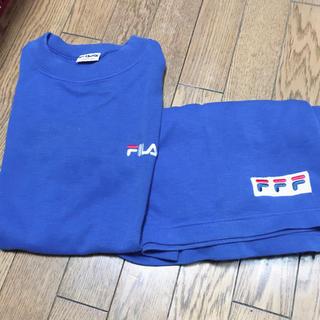 フィラ(FILA)のFILA ふぃら 上下 セット 半袖 ハーフパンツ 青(ルームウェア)