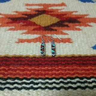 インディアン(Indian)のインディアンジュエリー ズニ族インレイ silver925 ピアス ターコイズ(ピアス)