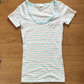 エムズエキサイト(EMSEXCITE)のボーダー ロング丈Tシャツ(Tシャツ/カットソー(半袖/袖なし))