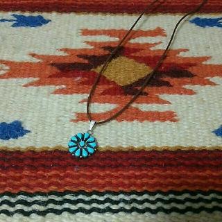 インディアン(Indian)のインディアンジュエリー ナバホ族 クラスター ターコイズネックレス シルバー(ネックレス)