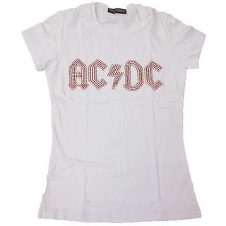【現品のみ】AC/DC■ロックTシャツ■ラインストーン付き■Fホワイト■Z007(Tシャツ(半袖/袖なし))