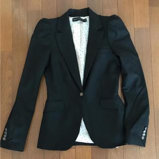 ザラ(ZARA)のZARA WOMAN ブラックジャケット スーツ ザラウーマン パフスリーブ(テーラードジャケット)