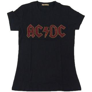 【現品のみ】AC/DC■ロックTシャツ■ラインストーン付き■Fブラック■Z009(Tシャツ(半袖/袖なし))