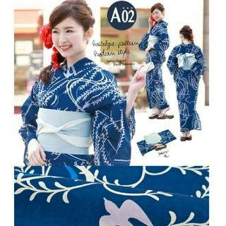 ¥5,980 A02 浴衣3点セット(浴衣+帯+下駄)  青地×柳とツバメ(浴衣)