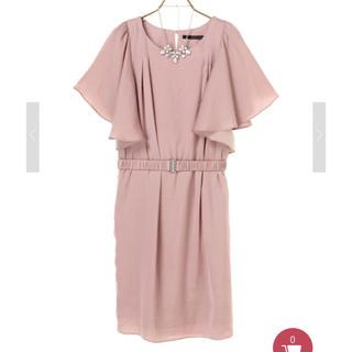 イェッカヴェッカ(YECCA VECCA)のネックレス&ベルト付きドレス  ピンク(ミディアムドレス)