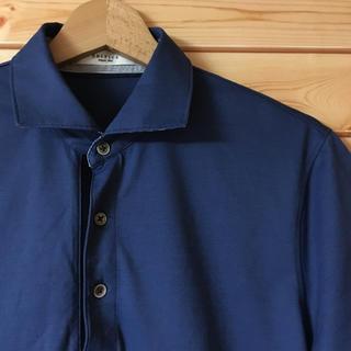 エディフィス(EDIFICE)の美品【 EDIFICE エディフィス 】ホリゾンタルカラーポロシャツ ブルー(ポロシャツ)