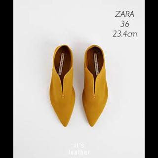 ザラ(ZARA)の【新品・未使用】ZARA レザーフラットシューズ 36(スリッポン/モカシン)
