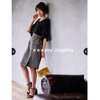 ジャスグリッティー(JUSGLITTY)の雑誌掲載♡チェック♡巻き風リボンタイト(ひざ丈スカート)