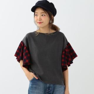 アナザーエディション(ANOTHER EDITION)のチェックフリルスリーブTシャツ(Tシャツ(半袖/袖なし))