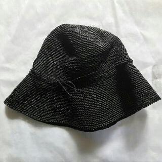 ムジルシリョウヒン(MUJI (無印良品))の●無印良品/ たためるキャペリン ブラックラフィアハット●muji麦わら帽子(麦わら帽子/ストローハット)