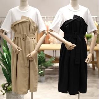 トレンチ風 ワンピース 流行 Tシャツ ドッキング ベルト セット 2018(ひざ丈ワンピース)
