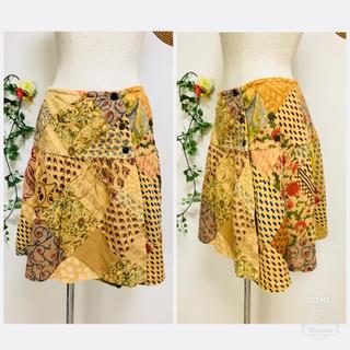 マライカ(MALAIKA)の*MALAIKAマライカ*インド綿 パッチワーク ラップスカート 巻きスカート(ひざ丈スカート)