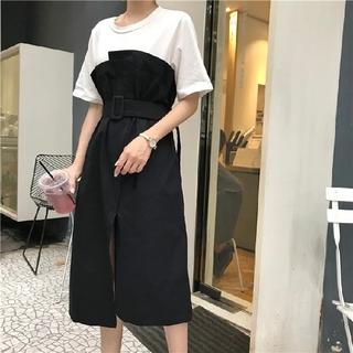 トレンチ風 ワンピース 流行 Tシャツ 2018(ひざ丈ワンピース)