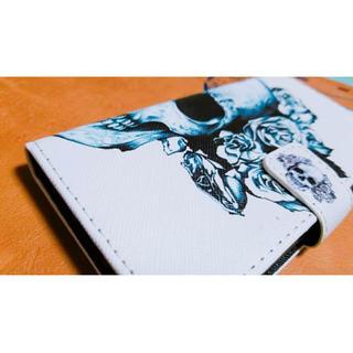 ドクロ。骸骨スカル。手帳型。iphone7スマホケース。送料無料(iPhoneケース)