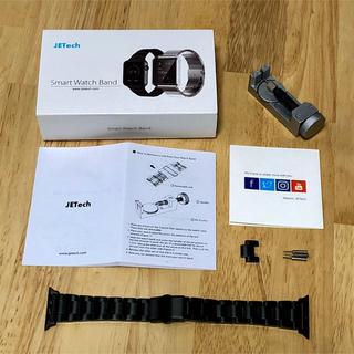 JETech Apple Watch ステンレスバンド 38mm ブラック(金属ベルト)