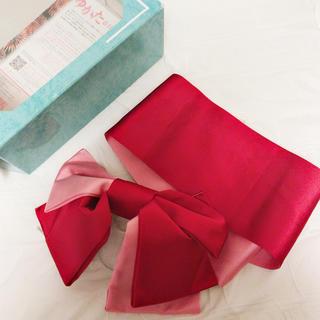 アールユー(RU)のマルイ ピンク&赤作り帯 (浴衣帯)