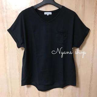 シマムラ(しまむら)のしまむら 黒無地半袖Tシャツ Vネック ポケット付き ブラック(カットソー(半袖/袖なし))