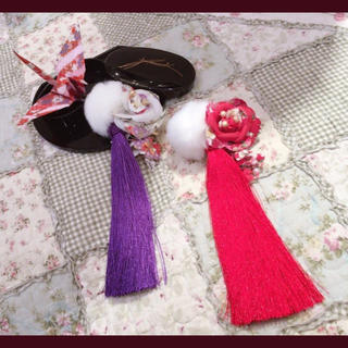 アマベル(Amavel)の値下げ 美品 アマベル  髪飾り パープル 浴衣(ヘアピン)