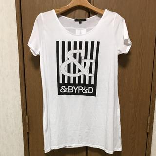 アンドバイピーアンドディー(&byP&D)の&by Pinky&Dianne ホワイトロゴTシャツ(Tシャツ(半袖/袖なし))