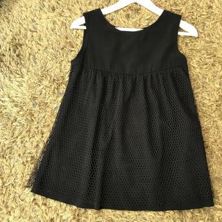 シェル(Cher)のCher ノースリーブチュールブラウス ブラック(シャツ/ブラウス(半袖/袖なし))