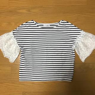 イエナ(IENA)の袖レースボーダーT(Tシャツ(半袖/袖なし))