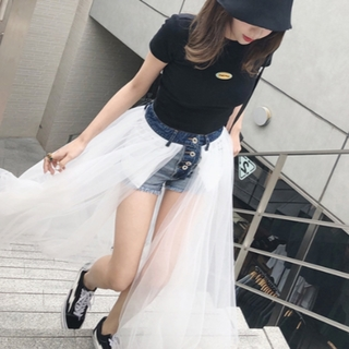 大人スウィート リメイクデニム ドッキングチュールスカートサイズS~L(ショートパンツ)