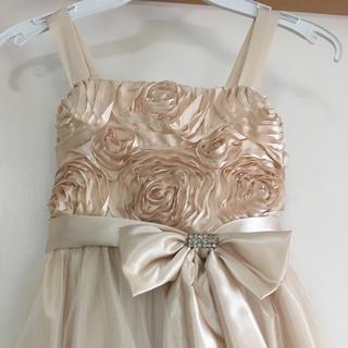 美品 子供ドレス 130 ピアノの発表会 結婚式 バラ   シャンパンゴールド(ドレス/フォーマル)