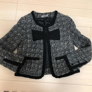 アネモネ(Ane Mone)の黒グレーのツィードジャケット (ノーカラージャケット)