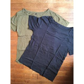 ❁ 無印良品  MUJI Tシャツ 黒とカーキ 2枚セット