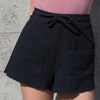 アリシアスタン(ALEXIA STAM)の即完売☆ Crinkle Cotton Gauze Shorts Black(ショートパンツ)