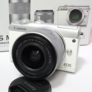キヤノン(Canon)の❤️新品未使用❤️Canon EOS M100 レンズキット★お洒落なホワイト!(ミラーレス一眼)