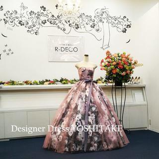 ウエディングドレス(パニエ無料) ピンクチュールプリント柄 二次会/披露宴/演奏(ウェディングドレス)