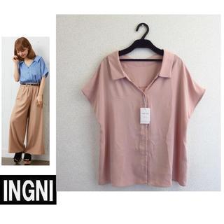 新品★INGNIイング★抜き衿トロミ/半袖シャツ