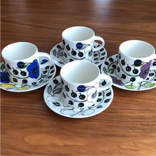 アラビア(ARABIA)の【新品、未使用】アラビア パラティッシ コーヒーカップ&ソーサー 4客(食器)