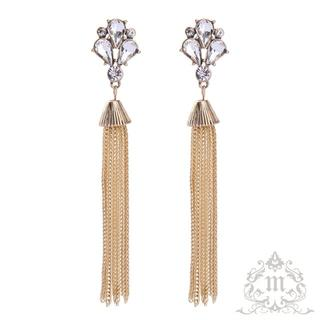 【再販・Mie-040】Long chain tassel &Crystal(ピアス)