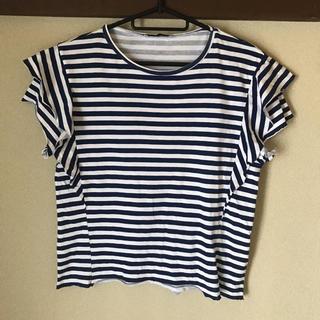 ザラ(ZARA)のZARA ボーダーフリル袖Tシャツ(Tシャツ(半袖/袖なし))