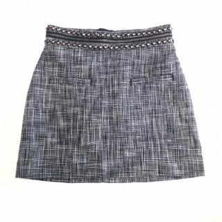 エイチアンドエム(H&M)のスタッズ付ツイードミニスカート☆送料込み(ミニスカート)