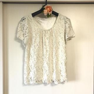 アストリアオディール(ASTORIA ODIER)の1度着用のみ*白系レースの半袖カットソー(カットソー(半袖/袖なし))