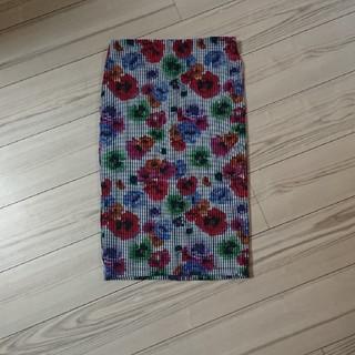 ザラ(ZARA)のZARA 美品 花柄ストライプタイトスカート M(ひざ丈スカート)