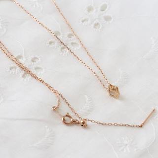 アガット(agete)のアガット ダイヤ ネックレス&チャーム k10 ピンクゴールド(ネックレス)