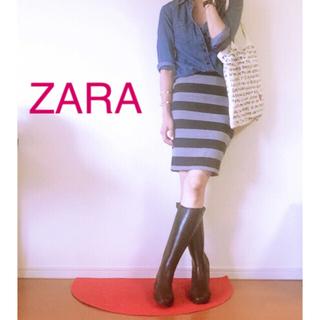 ザラ(ZARA)のZARA ザラ ボーダー タイトスカート サイズM(ひざ丈スカート)