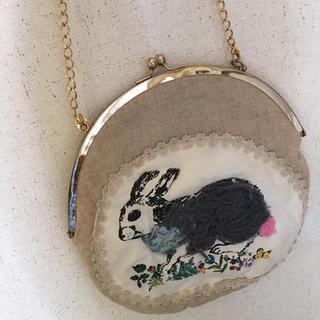 タマオ(tamao)のtamao 刺繍 バッグ ラウンドバッグ チェーン ハンドメイド がま口(ショルダーバッグ)