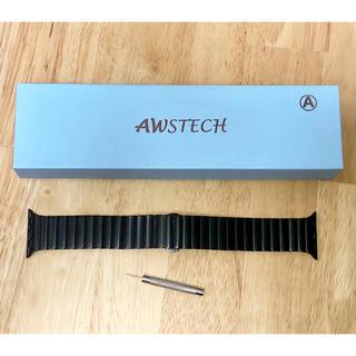 AWSTECH Apple Watch ステンレスバンド 38mm ブラック(金属ベルト)