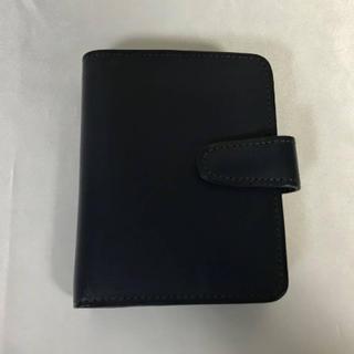 コーチ(COACH)の美品本物コーチCOACH本革レザーがま口コインケース二つ折り財布札入れサイフ紺(財布)