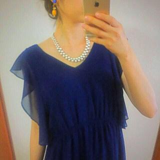 ザラ(ZARA)のZARA ネイビーフリルワンピース ドレス(ひざ丈ワンピース)