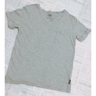 シマムラ(しまむら)のしまむら  ポケ付き Vネック Tシャツ   ⿴無地 グレー(Tシャツ(半袖/袖なし))