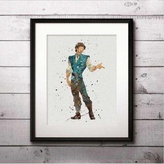 ディズニー(Disney)のフリンライダー(塔の上のラプンツェル)アートポスター【額縁つき・送料無料!】(ポスター)
