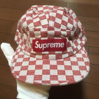 シュプリーム(Supreme)のsupreme checkerboard camp cap デニムチェック(キャップ)