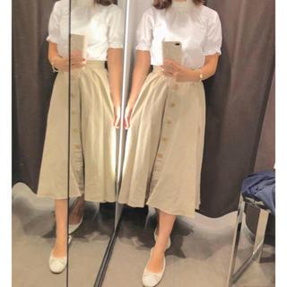 ザラ(ZARA)の新品 ZARA ボタン付きリネンスカート(ひざ丈スカート)
